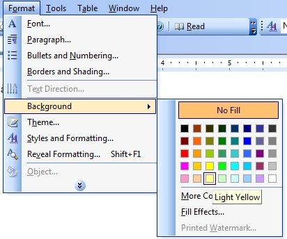 Cách Tạo Màu Nền Cho Tài Liệu Trong Word 2003 Vnhowvn