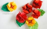 Cách xếp hoa hồng giấy và lá cực đẹp theo phong cách Origami