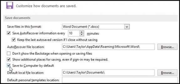 Thay đổi đường dẫn lưu tệp mặc định trên Office 2013 4